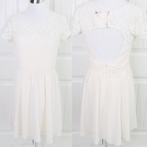 Modcloth Alythea Cream Lace Open Back Dress